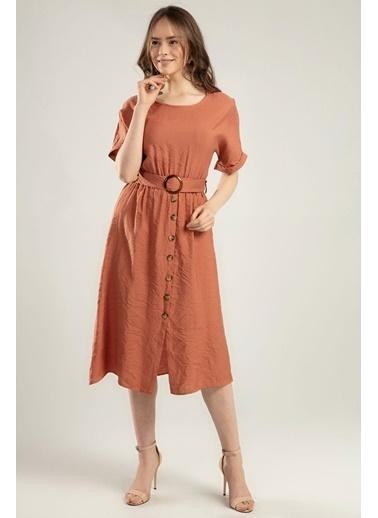 Pattaya Pattaya Kadın Duble Kol Beli Lastikli Süs Düğmeli Elbise Y20S110-1682-1 Taba